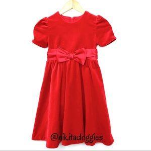 Little Girl Sylvia Whyte Red Velvet Bow Dash Dress